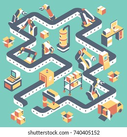 Factory automated production line vector flat isometric illustration with conveyor belt, industrial robots and manufacturing equipment.