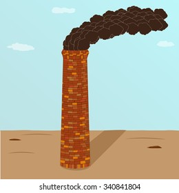 A factory brick smoking pipe standing on earth with shade on a background blue sky with clouds