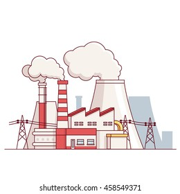 Factory building. Electrical power production plant with transmission lines and steam pipes. Modern flat style thin line vector illustration isolated on white background.