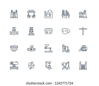 Factory building, Harbor crane, Clamp, Electricity, Press machine, Factory, Co2, Pushcart, Coal, Derrick, Refinery outline vector icons from 20 set