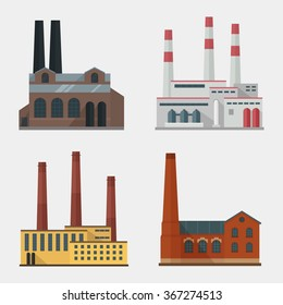 Factory building icon vector set in the flat style. Industrial factory concept isolated from the background.