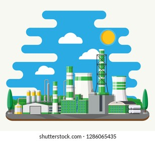 Factory building. Industrial factory, power plant. Pipes, buildings, warehouse, storage tank. Green eco plant. Trees, clouds and sun. Vector illustration in flat style