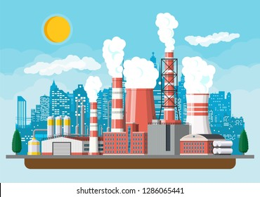 Factory building. Industrial factory, power plant. Pipes, buildings, warehouse, storage tank. Cityscape urban skyline with clouds, trees and sun. Vector illustration in flat style