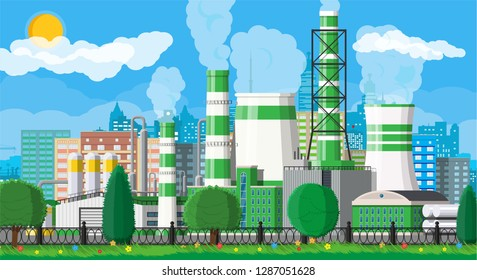 Factory building. Industrial factory, power plant. Pipes, buildings, warehouse, storage tank. Green eco plant. Urban cityscape skyline. Trees clouds and sun. Vector illustration in flat style