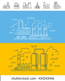 factory building industries line set art isolated icon image vector illustration object