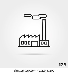 Factory building line icon vector. Industry and pollution symbol.