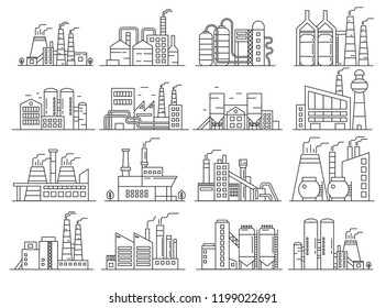 Factory building line style set. Indistrial construction and commercial architecture outline stroke set.