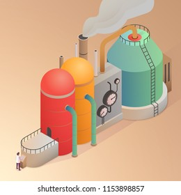 Factory building with pipes. Isometric vector illustration.