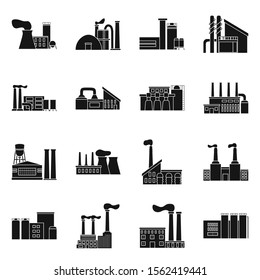 Factory building and plant vector black icon. Isolated illustration of industrial building. Vector set of icon architecture production.