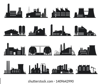 Factory building set, city industry and business silhouette. Architecture and commercial building. Vector industrial buildings on white background