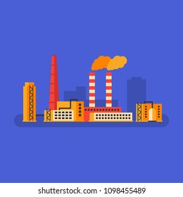 Factory building and smokestack pipe. Business concept. Vector Illustration.
