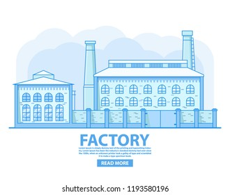 Factory building.Industrial factory concept.Old vintage plant.Brick architecture smoking chimney.Flat vector.