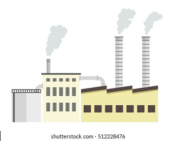 Factory cartoon - industrial plant architecture vector illustration.