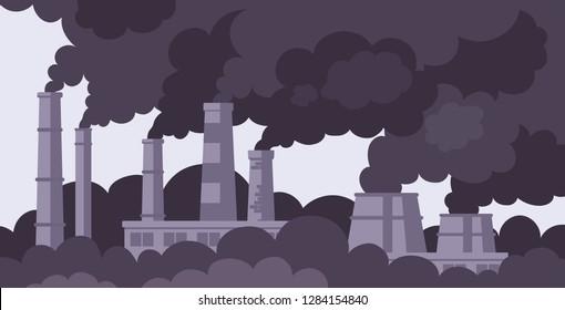Factory chimneys with black smoke. Factory smokestacks. Air pollution. Environment pollution concept. Ecological disaster concept. Flat vector illustration.