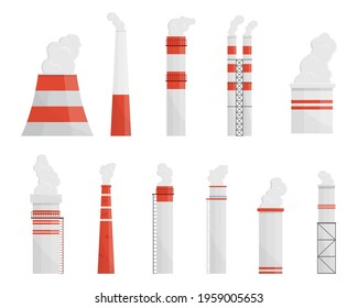 Factory chimneys flat vector illustrations set. Smoking industrial smokestacks pack. Factory pipe. Atmosphere pollution from industrial production manufacturing steam chimney fumes