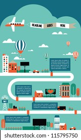 factory cityscape info graphics charts, symbols, graphic elements, map