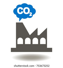 Factory Cloud CO2 Icon Vector. Industrial Emissions Carbon Dioxide Illustration. Emission Reductions Industry Symbol. Chimney Polluting Logo.