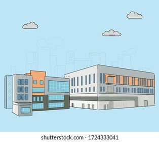 factory complex illustration set. industry, architecture, building, plant. Vector drawing. Hand drawn style.