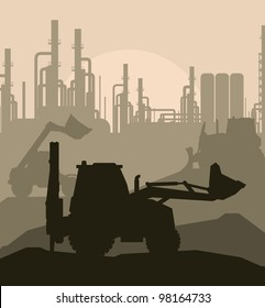 Factory construction with building machinery vector background
