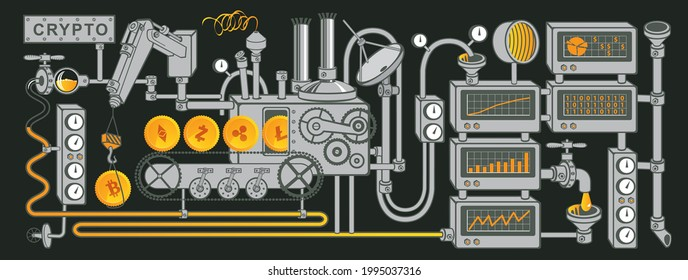 Factory conveyor crypto currency mining. Bitcoin manufactory concept vector illustration in flat style. Golden coins production line. Blockchain technology. Digital money and WebMoney