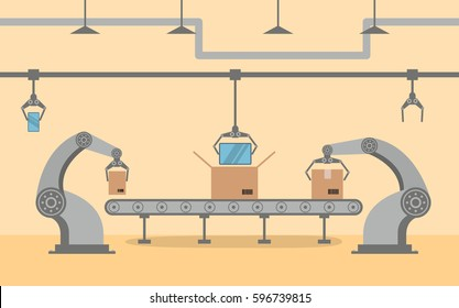 Factory conveyor packing smartphone in a box in flat style.Robotic hand,arm,pointing device. Production Line with Cardboard Boxes.Industrial machine. robot industry factory manufacture.