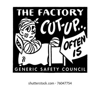 The Factory Cut-Up - Retro Ad Art Banner