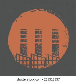 Factory design on grunge background, grunge vector
