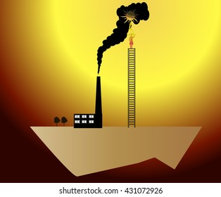 Factory and ecology. Illustration. Vector. Eco