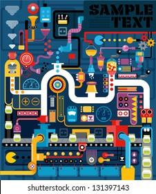Factory, Engineering, Vectory illustration