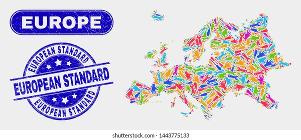 Factory Europe map and blue European Standard grunge seal stamp. Colorful vector Europe map mosaic of repair components. Blue round European Standard seal.