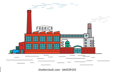 Factory. Fabrica industrial building, isolated on white background. Flat outline style, vector illustration