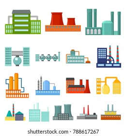 Factory and facilities cartoon icons in set collection for design. Factory and equipment vector symbol stock web illustration.
