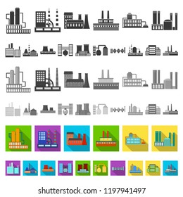 Factory and facilities flat icons in set collection for design. Factory and equipment vector symbol stock web illustration.