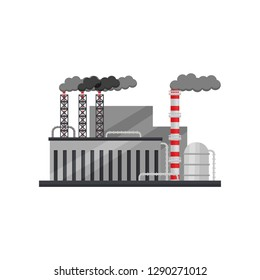 Factory of ferrous metallurgy. Industrial plant with building, cistern and smoking pipes. Flat vector design