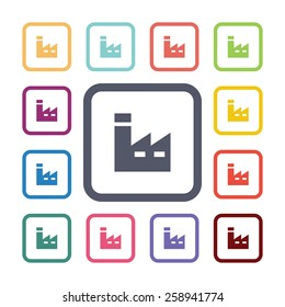 factory flat icons set. Open round colorful buttons. Vector