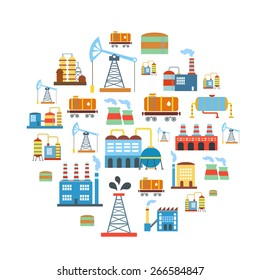 Factory flat industry background with manufacturer  production technology buildings vector