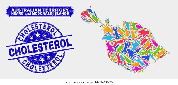 Factory Heard and McDonald Islands map and blue Cholesterol scratched seal. Colorful vector Heard and McDonald Islands map mosaic of productivity components. Blue round Cholesterol seal.