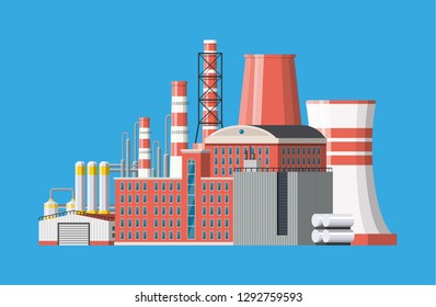 Factory icon building. Industrial factory, power plant. Pipes, buildings, warehouse, storage tank. Vector illustration in flat style