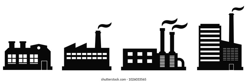Factory icon set. Vector industrial buildings pictograms. Black silhouettes of manufacturing objects isolated on white. Set of four contours of plants for industrial design.
