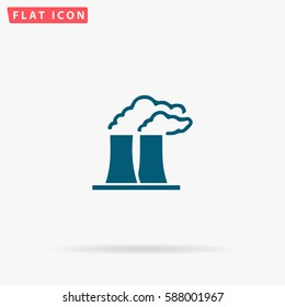 Factory Icon Vector. Flat simple Blue pictogram on white background. Illustration symbol with shadow