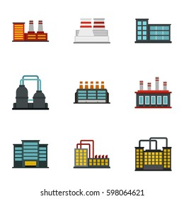 Factory icons set. Flat illustration of 9 factory vector icons for web