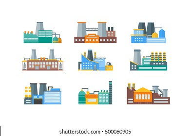 Factory or Industrial Building Flat Design Style Icon Set. Vector illustration of Urban Factory Landscape manufactory of power electricity, industry buildings