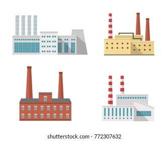 Factory industrial building vector illustrations set. Flat icon style.