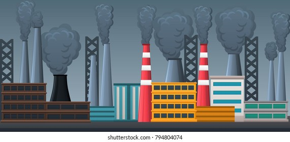 factory industrial ladscape with buildings and pipes and smoke
