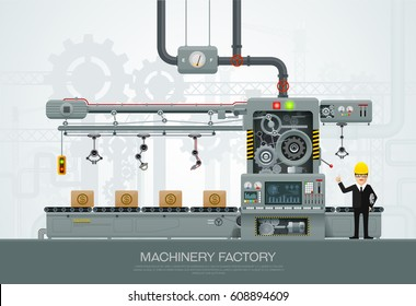 Factory Industrial machine manufacture convoy unit construction engineering equipment  with engineer vector illustration