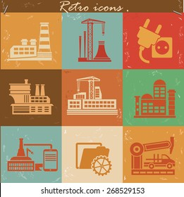 Factory and industry icon set on retro background,clean vector