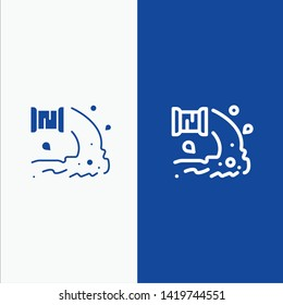 Factory, Industry, Sewage, Waste, Water Line and Glyph Solid icon Blue banner Line and Glyph Solid icon Blue banner