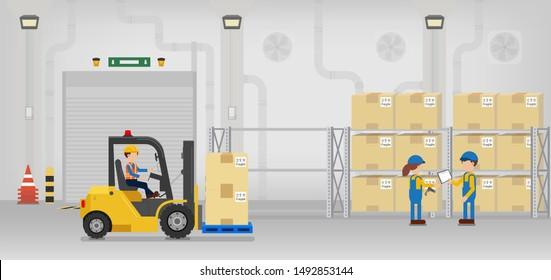 Factory interior with shutter door closed vector illustration
