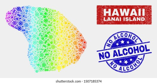 Factory Lanai Island map and blue No Alcohol distress stamp. Rainbow colored gradiented vector Lanai Island map mosaic of mechanic components. Blue round No Alcohol stamp.