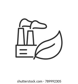 factory and leaf. linear icon. Line with Editable stroke